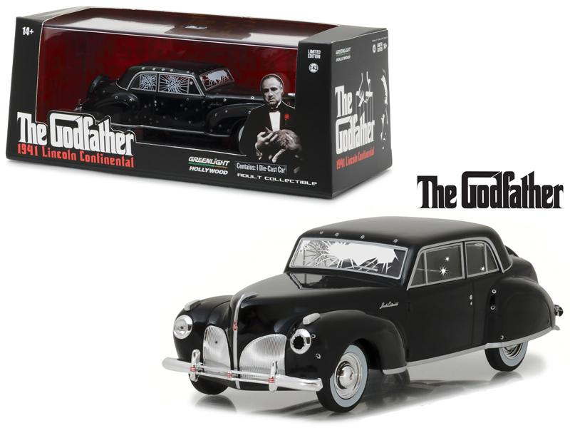 "1941 Lincoln Continental Black with Bullet Damage \The Godfather"" Movie (1972) 1/43 Diecast Model Car by Greenlight"""