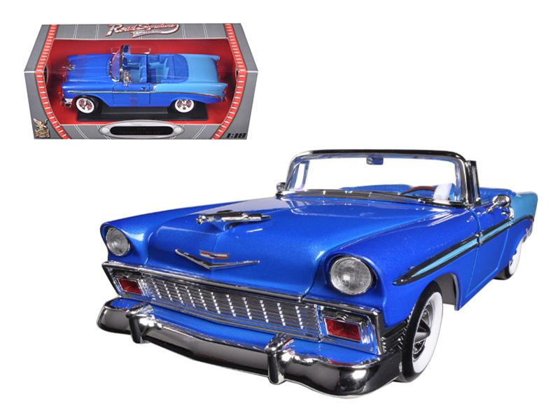 1956 Chevrolet Bel Air Convertible Blue 1/18 Diecast Car Model by Road Signature