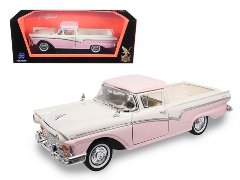 1957 Ford Ranchero Pickup Truck Pink 1/18 Diecast Model by Road Signature