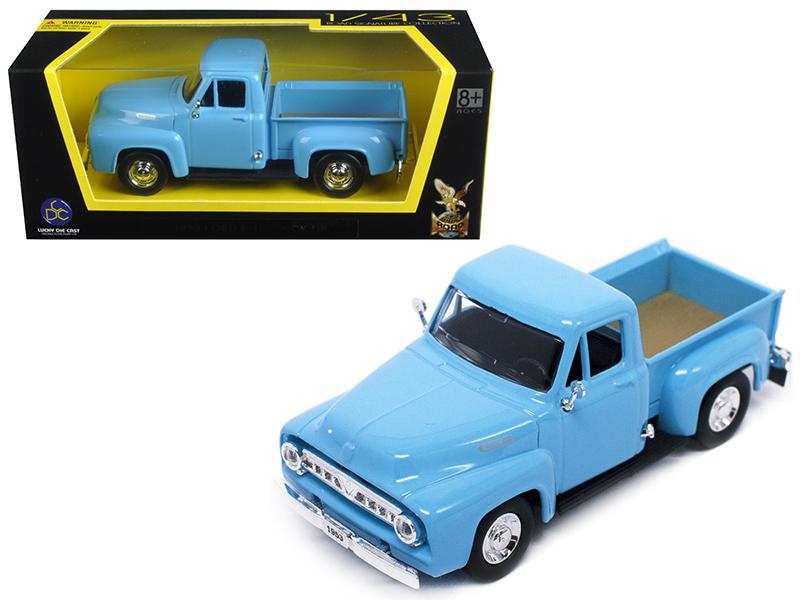 1953 Ford F-100 Pick Up Truck Light Blue 1/43 Diecast Car Model by Road Signature