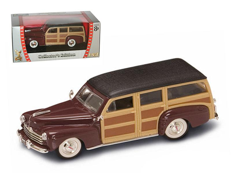 1948 Ford Woody Burgundy 1/43 Diecast Model Car by Road Signature