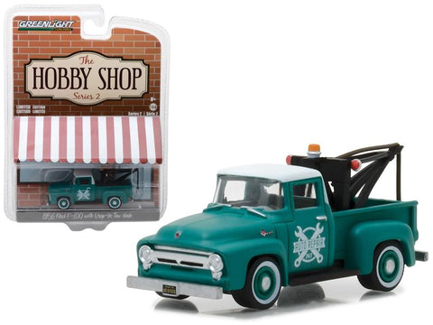 "1956 Ford F-100 Green with Drop-in Tow Hook \The Hobby Shop"" Series 2 1/64 Diecast Model Car by  Greenlight"""