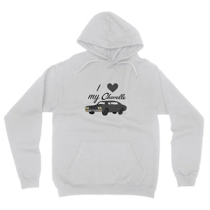 '70 Chevelle Black Front Print Fleece Pullover Hoodie