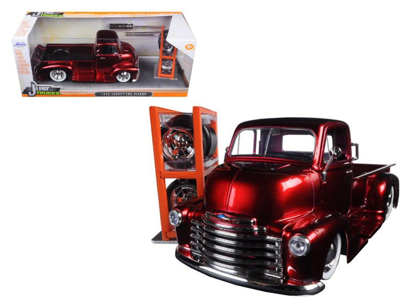 "1952 Chevrolet COE Pickup Truck Red \Just Trucks"" with Extra Wheels 1/24 Diecast Model by Jada"""