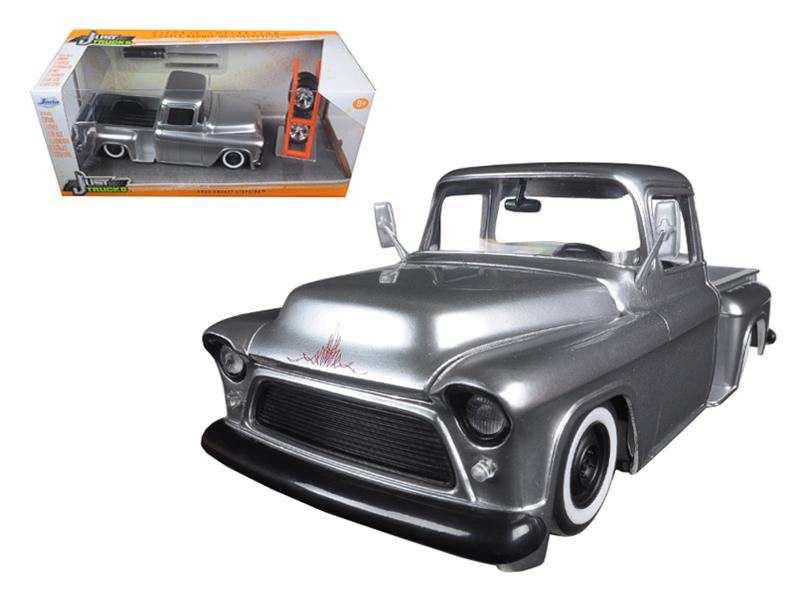 "1955 Chevrolet Stepside Pickup Truck Silver \Just Trucks"" with Extra Wheels 1/24 Diecast Model by Jada """