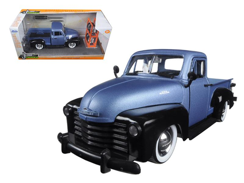 "1953 Chevrolet Pickup Truck Blue/Black \Just Trucks"" with Extra Wheels 1/24 Diecast Model by Jada """