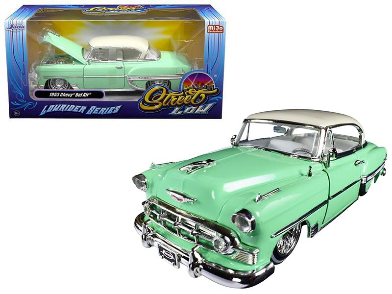"1953 Chevrolet Bel Air Light Green \Lowrider Series"" Street Low 1/24 Diecast Model Car by Jada"""