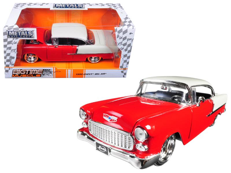 "1955 Chevrolet Bel Air Red \Bigtime Muscle"" 1/24 Diecast Model Car by Jada"""