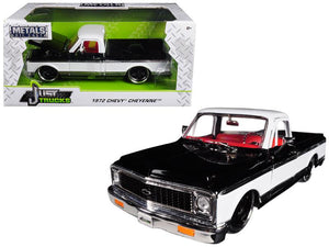 1972 Chevrolet Cheyenne Pickup Truck Black / White 1/24 Diecast Car Model by Jada