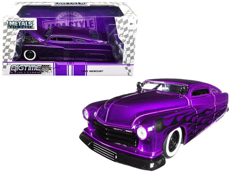 "1951 Mercury Purple with Flames \Big Time Kustoms"" 1/24 Diecast Model Car by Jada"""
