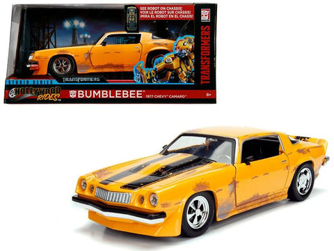"1977 Chevrolet Camaro Concept Bumblebee Yellow from \Transformers"" Movie \""Hollywood Rides\"" Series 1/24 Diecast Model Car by Jada Metals"""