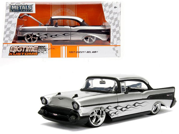 1957 Chevrolet Bel Air Silver with Flames 1/24 Diecast Model Car by Jada
