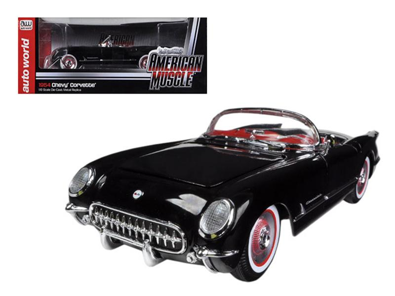 1954 Chevrolet Corvette Black Limited to 1500pc 1/18 Diecast Model Car by Autoworld