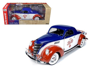 "1937 Lincoln Zephyr Coupe \Pepsi Cola"" Limited to 1500pc 1/18 Diecast Model Car by Autoworld"""