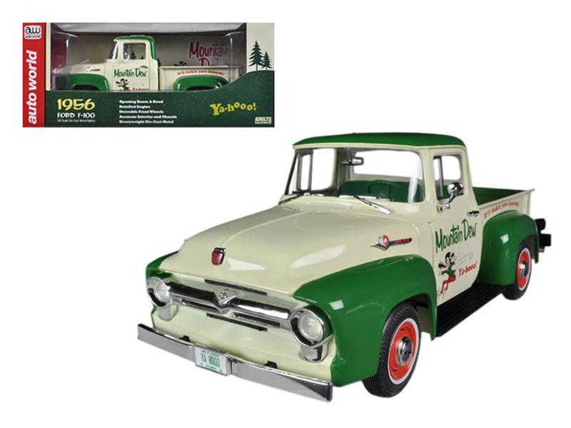 "1956 Ford F-100 Pickup Truck \Mountain Dew"" Limited to 1250pc 1/18 Diecast Model Car by Autoworld"""