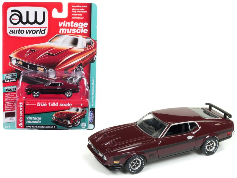 1972 Ford Mustang Mach 1 Maroon with Black Stripes Limited Edition to 2,016 pieces Worldwide 1/64 Diecast Model Car by Autoworld