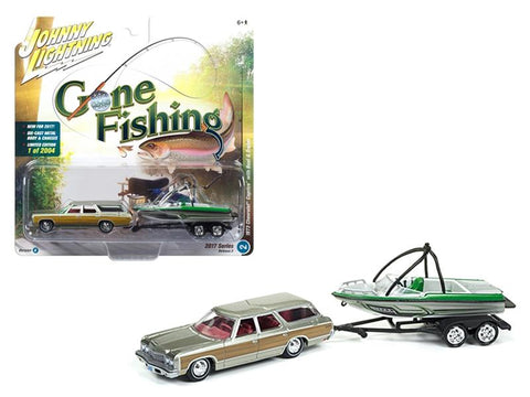 "1973 Chevrolet Caprice Silver Poly with Wood Grain with Boat and Trailer \Gone Fishing"" 1/64 Diecast Model Car  by Johnny Lightning"""