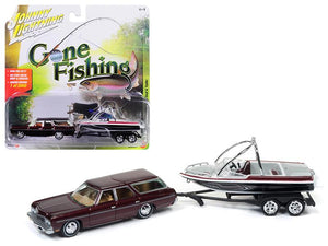 "1973 Chevrolet Caprice Station Wagon Dark Red Poly with Malibu Boat \Gone Fishing"" 1/64 Diecast Model Car by Johnny Lightning"""