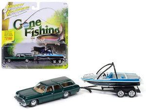 "1973 Chevrolet Caprice Station Wagon Dark Green Poly with Malibu Boat \Gone Fishing""1/64 Diecast Model Car by Johnny Lightning"""