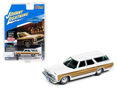 "1973 Chevrolet Caprice Wagon White \Classic Gold"" 1/64 Diecast Model Car by Johnny Lightning"""