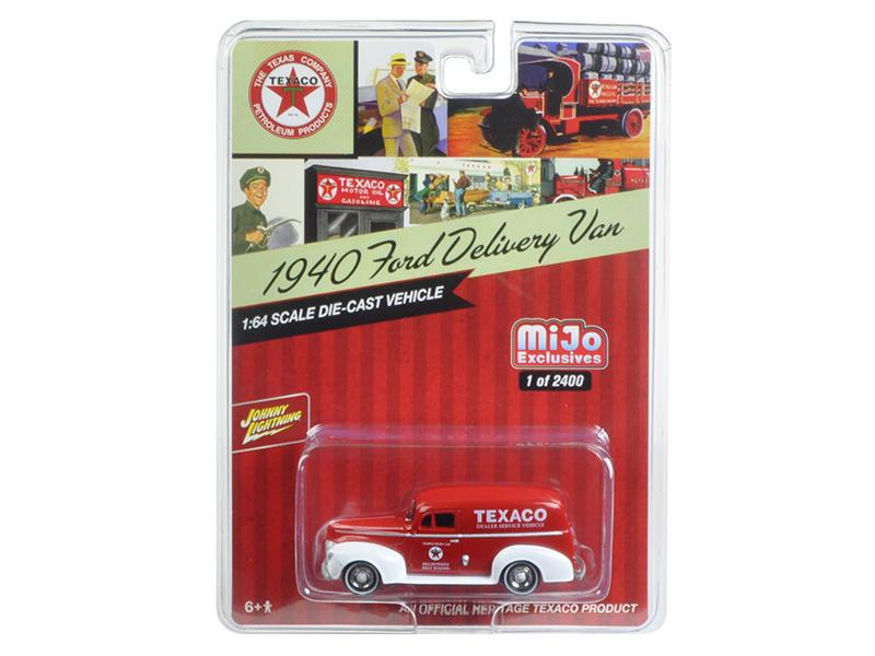 "1940 Ford Delivery Van \Texaco"" Red 1/64 Diecast Model Car by Johnny Lightning"""