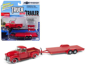 "1950 Chevrolet Pickup Truck Gloss Red with Open Car Trailer Limited Edition to 6,016 pieces Worldwide \Truck and Trailer"" Series 2 \""Chevrolet Trucks 100th Anniversary\"" 1/64 Diecast Model Car by Johnny Lightning"""