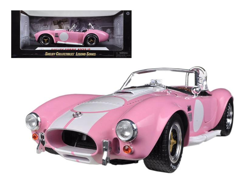 1965 Shelby Cobra 427 S/C Pink With Printed Carroll Shelby Signature On The Trunk 1/18 Diecast Car Model by Shelby Collectibles