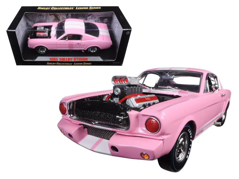 1965 Ford Shelby Mustang GT 350R Pink with White Stripes with Racing Engine 1/18 Diecast Model Car by Shelby Collectibles