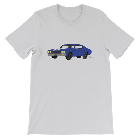 Image of '70 Chevelle Blue No Slogan Short Sleeve T-shirt