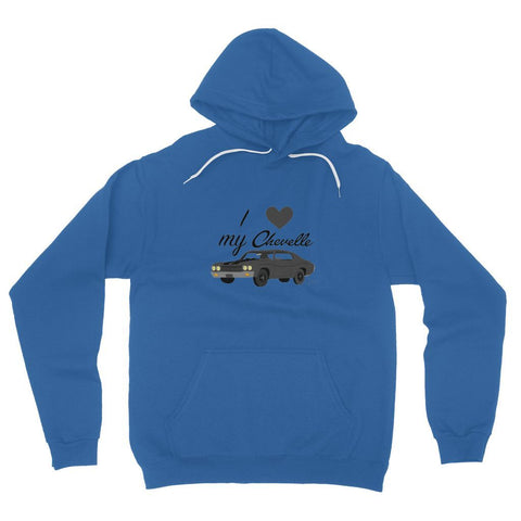 Image of '70 Chevelle Black Front Print Fleece Pullover Hoodie