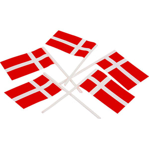 Dansk flag til kagen på plastpind - paper flags to put in food for birthdays