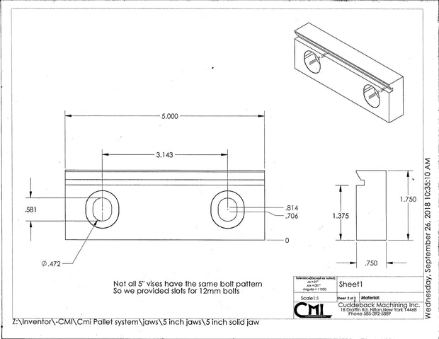 "cad drawing of slotted holes in 5"" jaws - CMI Creations"