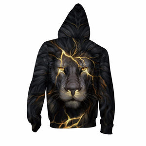Buy CoolShirts Gold Lion Printed Zipper Pullover Unisex Hoodie Sweatshirt
