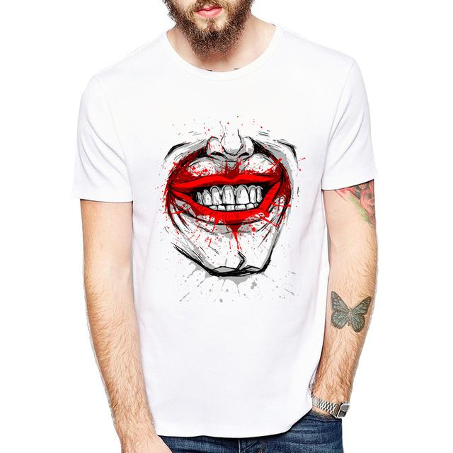 Cool Shirt Designs | Buy Cool Shirts Round Neck White Laughter Face Printed T Shirt For Men