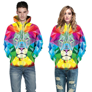 Buy CoolShirts Colorful Lion Pullover Unisex Hoodie Sweatshirt