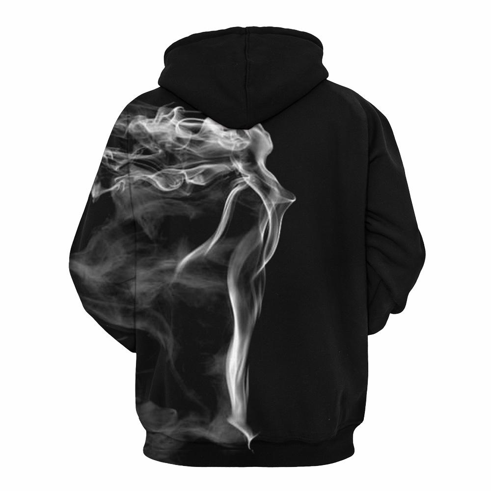 Black & White Smoke Design Pullover Hoodie