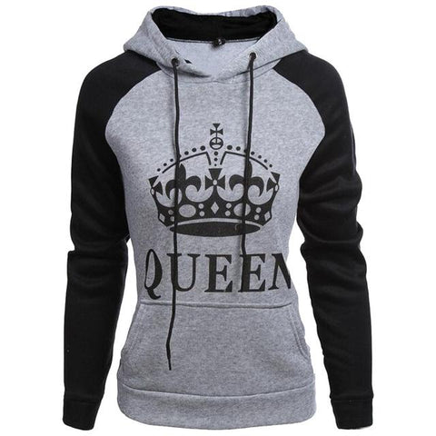 Buy CoolShirts Grey Black Queen Design Unisex Hoodie Sweatshirt