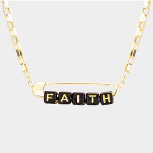 Safety Pin Message Necklace