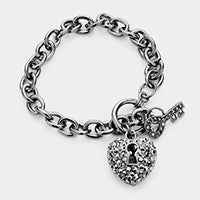 Load image into Gallery viewer, Key to my Heart Charm Bracelet