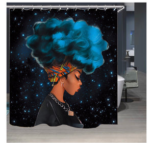 African Girl at Night Shower Curtain