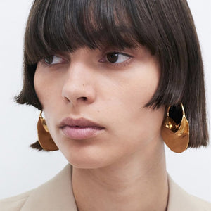 Metal Basket Large Hoop Earrings (Nickel Free)