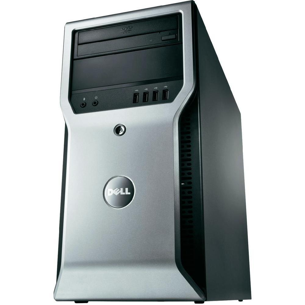 Dell Precision T1600 Workstation - Intel Xeon 3.1GHz Quad Core Processor E3-1225 (up to 3.4GHz), 8GB DDR3, 120GB SSD + 500GB HDD, DVD, Intel HD Graphics P3000, Windows 10 Professional, Keyboard/Mouse - Coretek Computers