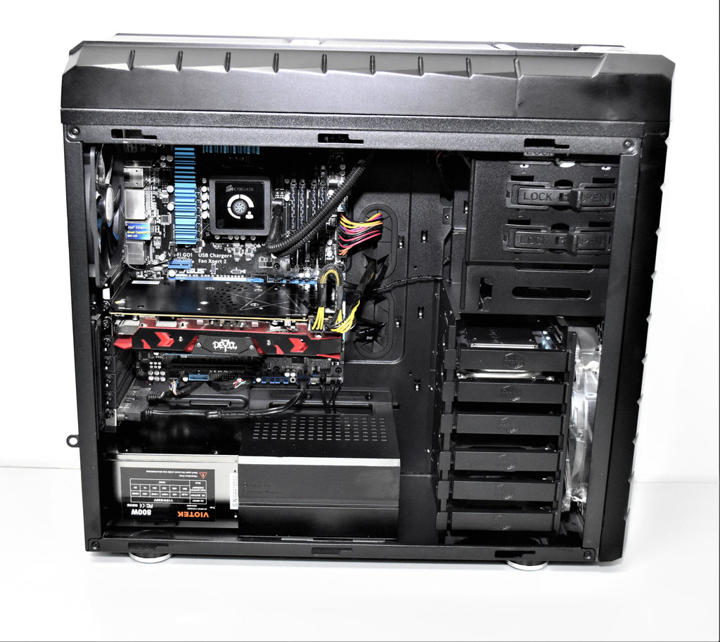 COOLER MASTER Gaming Machine Tower - Intel® Core™ i7-3770K 3.90GHz Quad Core Processor, 32GB Ram, 240GB SSD, 1TB HDD, RADEON RX580 8GB Video Card, Windows 10 Professional - Coretek Computers