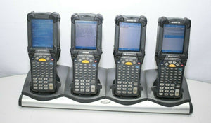 Lot of 4 Symbol Motorola MC9090 Scanners With CHS9000-4000C Charging Station - Coretek Computers
