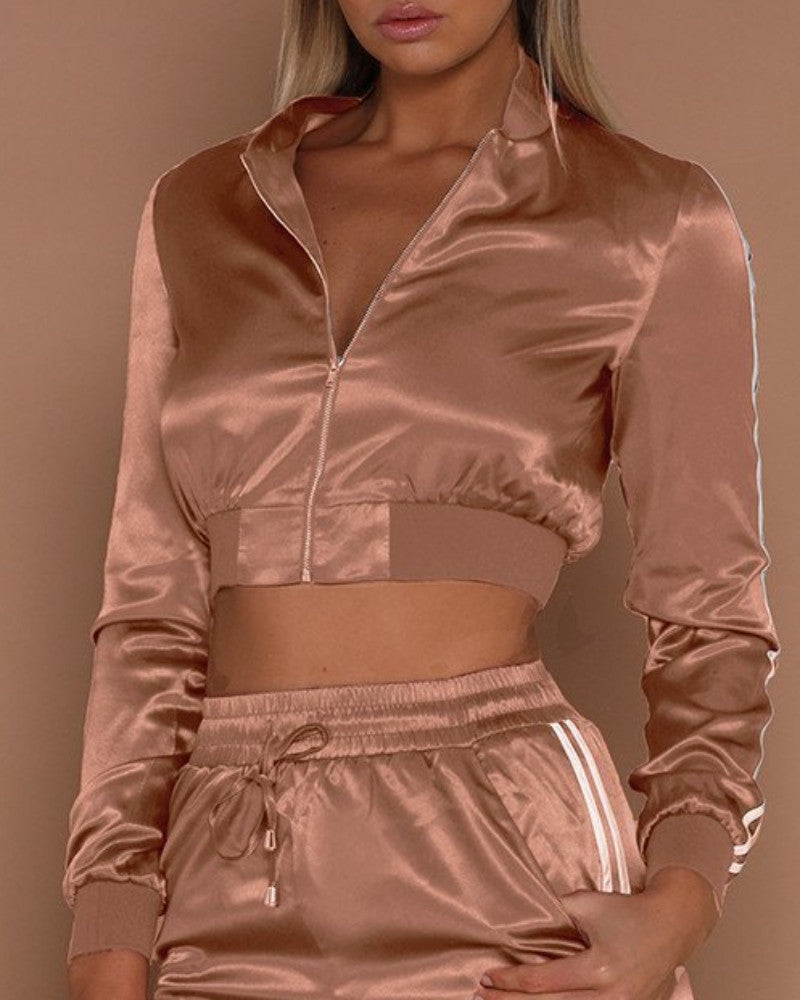 Monica Satin Cropped Tracksuit Jacket | BlissBabe