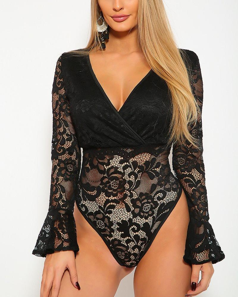 Candice Lace Bodysuit - Black