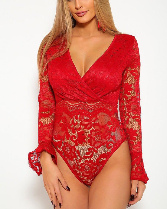 Candice Lace Bodysuit - Red