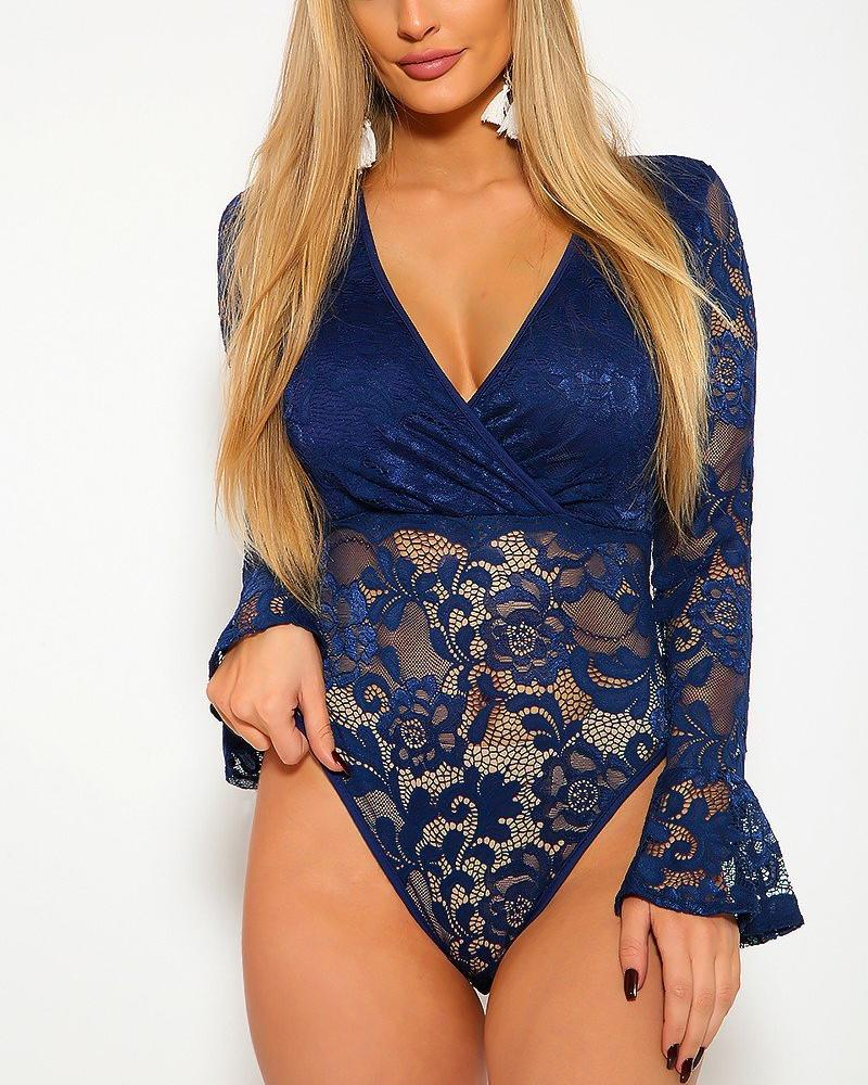 Candice Lace Bodysuit - Navy