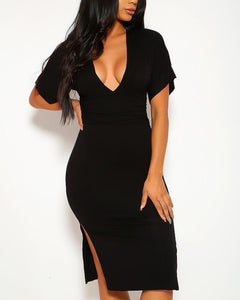 Adeline Midi Dress - Black | BlissBabe