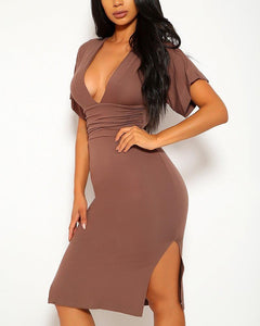 Adeline Midi Dress - Mocha | BlissBabe